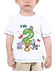 WAWSAM Baby Boy 2nd Birthday T-Shirt - I'm Two Wild 2 Jungle Animals Birthday Top Tee