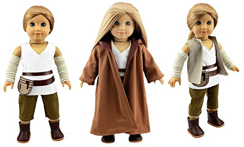 Costumes Doll Halloween Ag (Dreamtoyhouse Rey Inspired Jedi Cosplay Costume 7-Piece Set for 18 Inch American Girl)