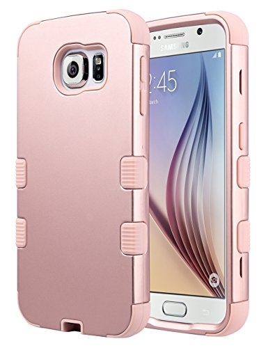ULAK Galaxy S6 Case, S6 Case, Shock Resistant Hybrid Soft Silicone Hard PC Cover Case for Samsung Galaxy S6, Will NOT Fit S6 Active (Rose Gold)