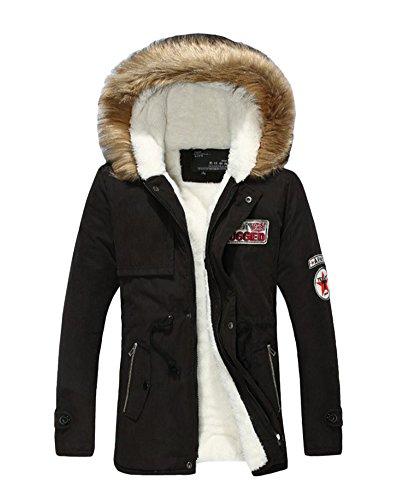 capucha Mezcla Negro de Abrigo Hombre invierno medio de con Abrigo algodón Chaqueta largo SP1qwwd
