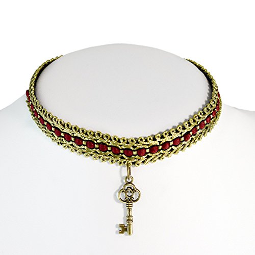 Ladies Choker Necklace Victorian Ribbon Collar Red Gold Key Pendant Boho Lolita Steampunk (Steampunk Babes)