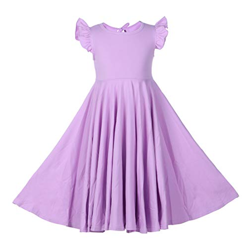 Girls Ruffles Dress Pink Color Fly Sleeve Twirly Skater Party Dress (Lavender, 5T) -