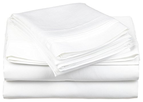 800 Thread Count GOTS Certified Organic Cotton Sheets King 4 Piece Sheet Set White Solid