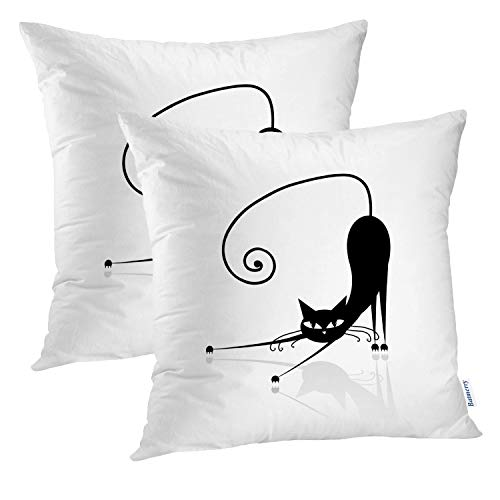 Batmerry Cat Pillow Cover 18x18 inch Set of 2,Black Cat Silhouette Tail Kitty Cartoon Halloween Sketch Animals Art Throw Pillows Covers Sofa Cushion Cover Pillowcase ()