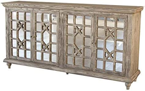 Crafters and Weavers Keystone 70″ Mirrored Door Sideboard/Media Console/Living Room Cabinet