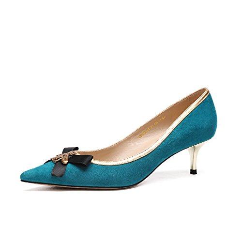 aguja tacones Blue de Jqdyl acentuados Shoes Wild nuevos 5cm Tacones 2018 Bow aqcWXgR