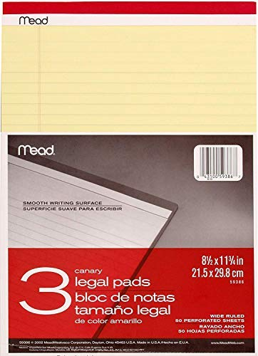 Mead hbg Canary Legal Pads, 8.5 X 11.75 Inches, 6 Pack, 50 Sheets (59386)