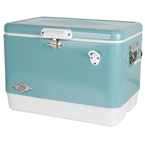 coleman vintage steel belted portable cooler with bottle opener 54 quart turquoise. Black Bedroom Furniture Sets. Home Design Ideas