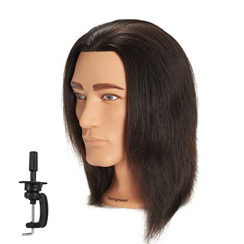 Traininghead 8-10 Male Mannequin Head 100% Human Hair Hairdresser Training Practice Head Manikin Cosmetology Doll Head With Clamp (Natural Black)