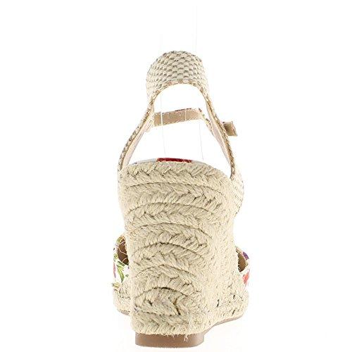 Zapatillas de cuña blanco y rojo floración tacón 9,5 cm