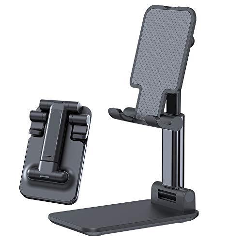 LOBKIN Adjustable Cell Phone Stand, Retractable&Foldable Portable Aluminum Alloy Phone Holder Cradle Dock for Desk, Desktop Tablet Stand