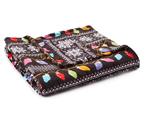 Just Home Fun Print Soft Cozy Lightweight 50 x 60 Fleece Throw Blanket (Black with Holiday Light) (Christmas Blanket Light)