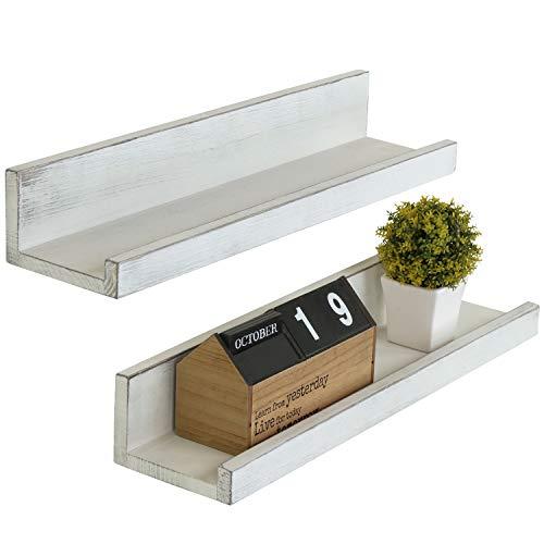 MyGift Set of 2 Vintage White Wood 24-Inch Wall-Mounted Ledge Shelves ()