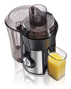 Hamilton Beach 67608A Big Mouth 800 Watt Juice Extractor Black and Stainless Steel, 3 Inch Feed Chute, Extra Large Pulp Bin, Stainless Steel Strainer Basket, One Speed Control, Juice Cup, BPA Free