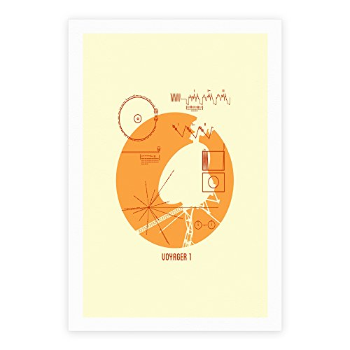Retro Voyager 1 Golden Record White Giclee Art Print Poster by LookHUMAN