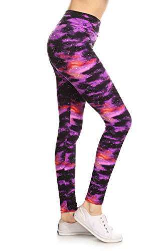 LYR-R555 Purple Galaxy Printed Yoga Leggings, One Size