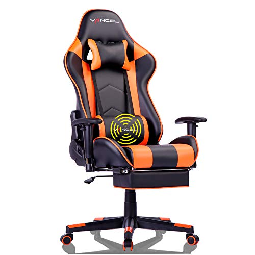 EAVANCEL Silla Gaming Sillones de Oficina Reclinable Ergonomica con Reposapies Retractil con Masaje Lumbar para Gamer (Naranja)