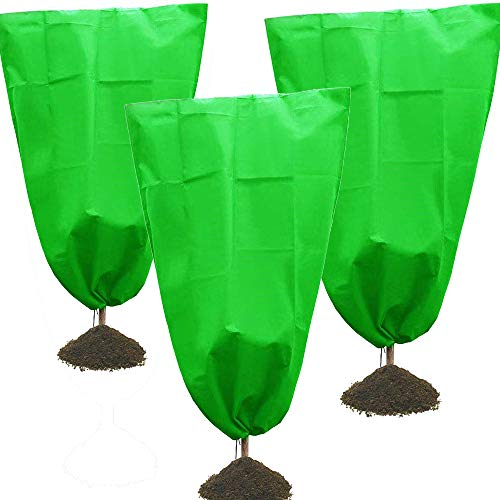 LWMEY Plant Covers Freeze Protection 3 Pack Drawstring Plant Covers 31.5 x39.4 Inches Frost Protection Cover Warm Plant Protection Cover Bags Blanket for Winter Outdoor Shrub Tree Potted Plants