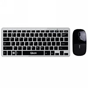 qisan wireless keyboard and mouse combo ultra slim 2 4g wireless mouse 78 key. Black Bedroom Furniture Sets. Home Design Ideas