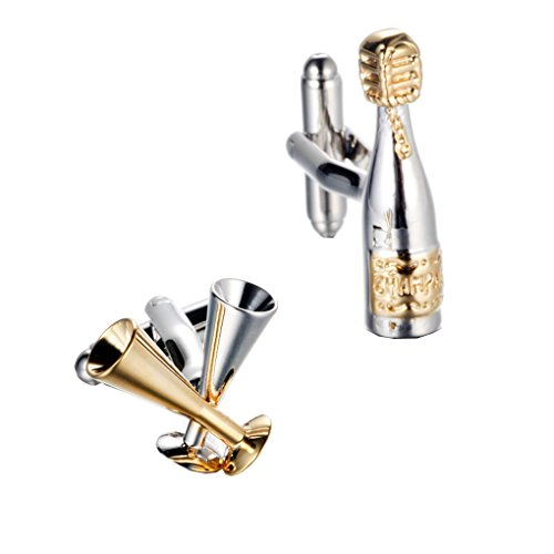 UM Jewelry 2pcs Rhodium Plated Goblet Wineglass Bottle Mens French Shirts Cufflinks Wedding Gold Silver