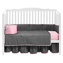 BabyDoll Solid Reversible Crib Bedding Set, Grey/Pink