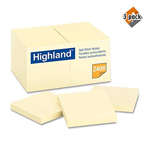 Highland Notes, 3 x 3-Inches, Yellow, 24-Pads/Pack - 3 Pack