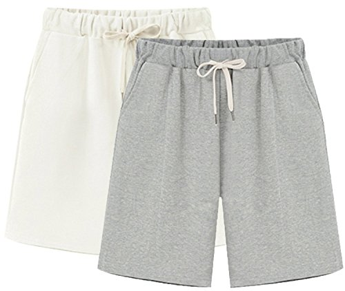 Vcansion Women's Lightweight Casual Shorts Summer Loose Plus Size Shorts Hiking Shorts Elastic Waist Drawstring 2 Pack(White+Grey) Tag 6XL/US 16W ()