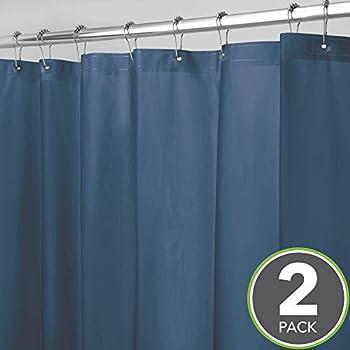 2 Pk. mDesign Waterproof Heavy Duty PEVA Shower Curtain Liner
