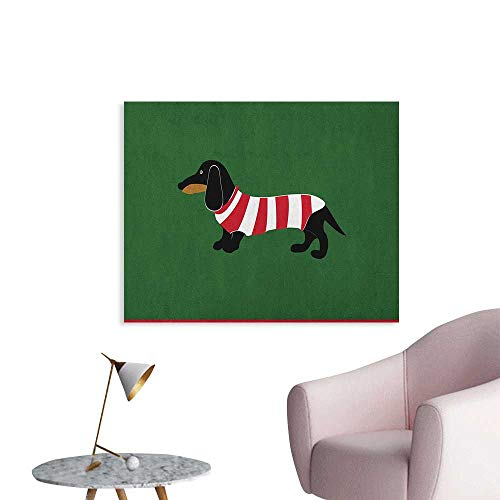(Anzhutwelve Dachshund Wallpaper Abstract Canine Cartoon Design Dachshund Puppy in Stripped Shirt Funny Character The Office Poster Multicolor W48)