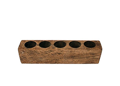 5 Hole Sugar Mold - Wooden Rustic Candle Holder Farmhouse Home Decor ()