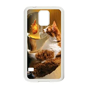 Diy Lovely Cute Cat Animal Phone Case for samsung galaxy s5 White Shell Phone JFLIFE(TM) [Pattern-1]