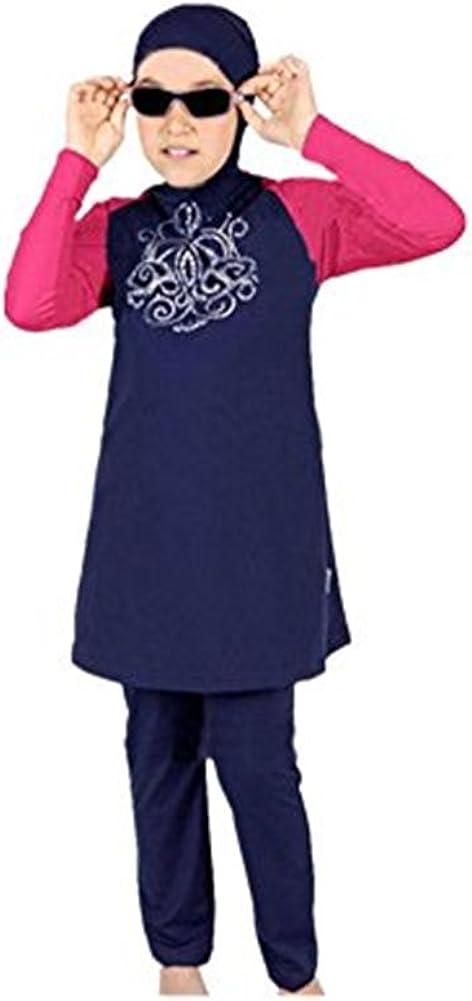 KXCFCYS Muslim Swimwear for Kid Girls Children Modest Islamic Hijab Swimsuits Burkini