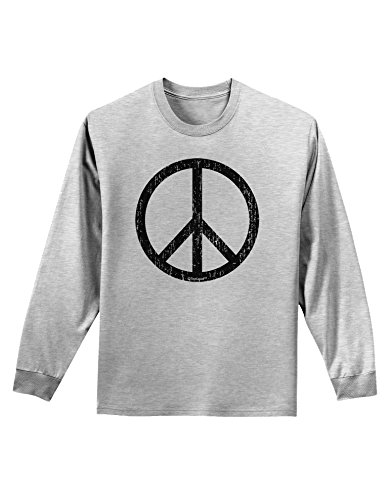 TooLoud Peace Sign Symbol - Distressed Adult Long Sleeve Shirt - Ash Gray - XL (70s Outfits For Men)