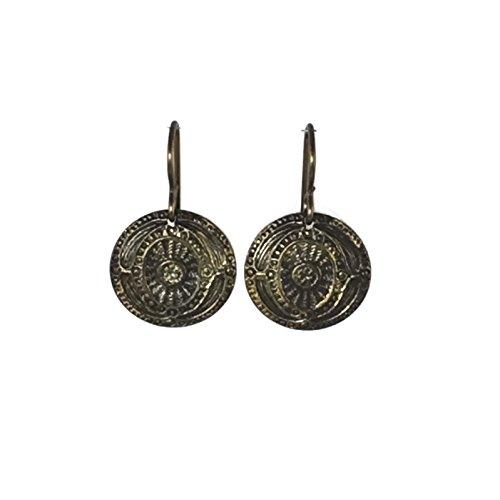 Medallion Corners (Small Brass Medallion Earrings (#595))