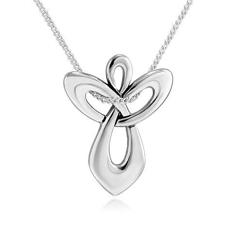 925 Sterling Silver Guardian Angel Cross Pendant Necklace, 18