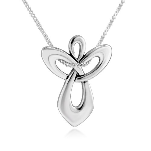 925 Sterling Silver Guardian Angel Cross Pendant Necklace, 18