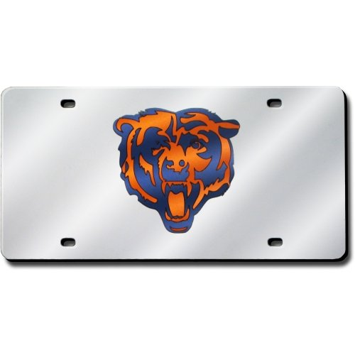 Rico Industries Chicago Bears Laser Cut Silver License Plate (Laser Bears Plate License Chicago)