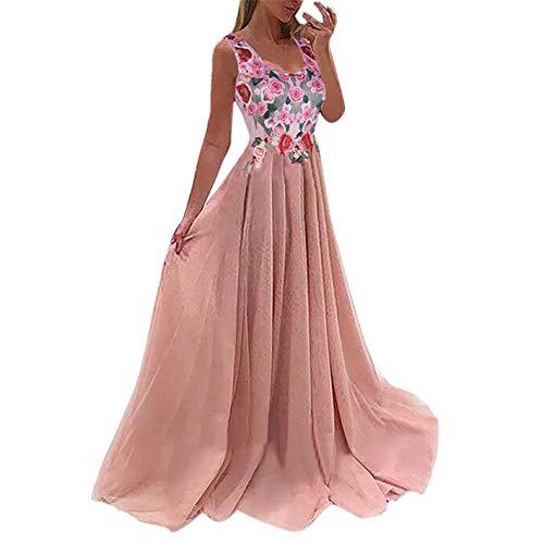 TIFENNY Women's Lace Applique Elegant Coral Bridesmaid Dresses Sleeveless Print Princess Wedding Guest Dress Pink