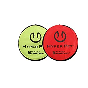 Hyper Pet Flippy Flopper Dog Frisbee Interactive Dog Toys [Flying Disc Dog Fetch Toy - Floats in Water & Safe on Teeth] (Pack of 2, Colors Will Vary) 27