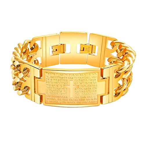 INRENG Men's Titanium Stainless Steel Lord's Prayer Cross Bible Verse Bracelet Link Wristband Adjustable, Gold 21CM