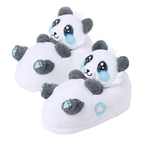 corimori 1847 - Panda Mei Cute Plush 3D Animal Shaped Slippers, Funny Lounge Shoes, Childrens Sizes (Panda Bear Slippers)