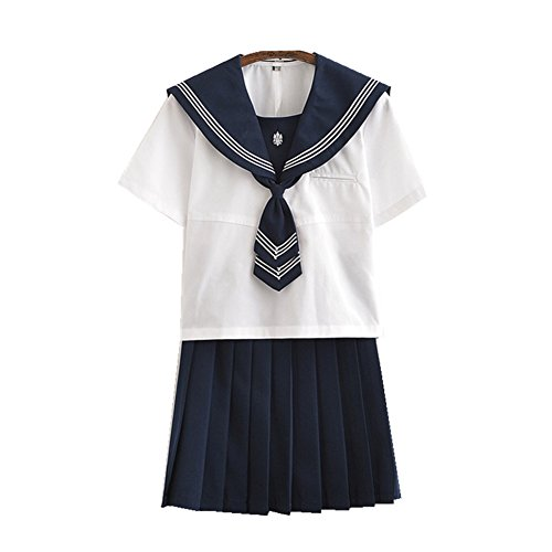 TISEA Japanese Anime Clothes Classic Navy Sailor Suit Short Sleeve Girl Students School Uniforms (Asian S, White (Japan Student Costume)