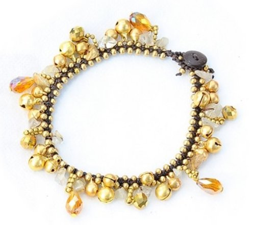 """Ankle Bracelets With Bells - Yellow stone : Handmade Jewelry (10"""")"""