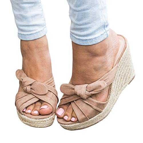 Fashare Womens Platform Espadrille Wedge Slide Sandals Bowtie Knot Open Toe Slip on Summer Mules Shoes Nude