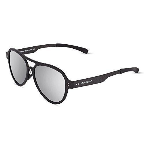 Blasses Premium Full Mirrored Classic Aviator Sunglasses, Polarized, 100% UV protection (Black, - Without Sunglasses Pads Nose