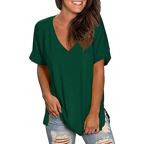OSTELY Tops for Women-Casual Loose V-Neck Solid T Shirts Short Sleeve Tunic -