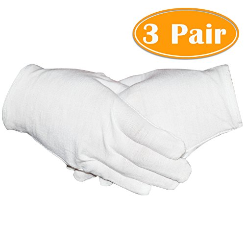 Paxcoo 3 Pairs White Cotton Gloves for Dry Hand Cosmetic Moisturizing Coin Jewelry Inspection Spa - Medium Size