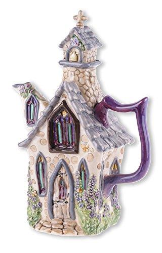 (Blue Sky Ceramic Blue Delphinium Church Teapot, 8 x 4.5 x 10.5