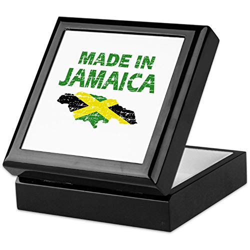 CafePress Made in Jamaica Keepsake Box, Finished Hardwood Jewelry Box, Velvet Lined Memento Box (Jamaican Cigars Special)