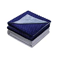 Weighted Idea Weighted Blanket with Removable Cover | 20 lbs | 48''x78'' | Grey/Navy Blue Dot | for Women and Men